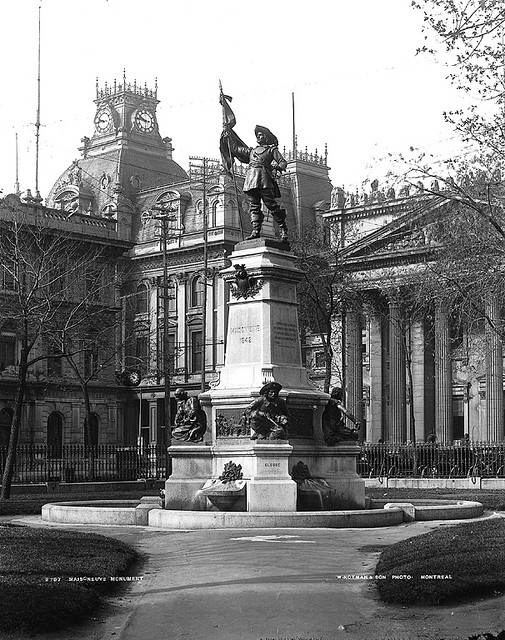 Maisonneuve Monument, Place d'Armes, Montreal, QC, about 1896 from the McCord Museum.