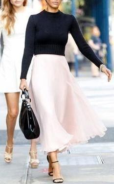 Toughen up a floaty, feminine skirt with a shrunken knit.