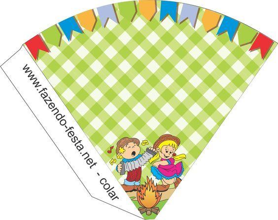 Decoração Festa Junina kit festa para imprimir cone 590de8961d96a