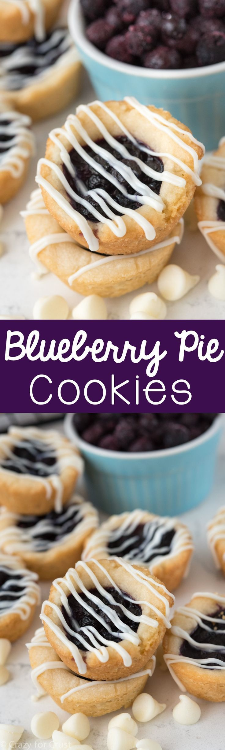 Easy Blueberry Pie Cookies - a shortbread cookie filled with blueberry pie! This recipe is foolproof and perfect for the holidays.