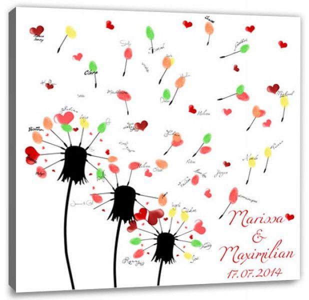 Fingerabdruck Baum - Hochzeit Wünsche Pusteblume