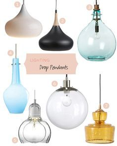 Drop pendants are fantastic in a kitchen, lined up along a counter or over the sink. They can work in the right dining room too, in multiples, or flanking a bed over nightstands.