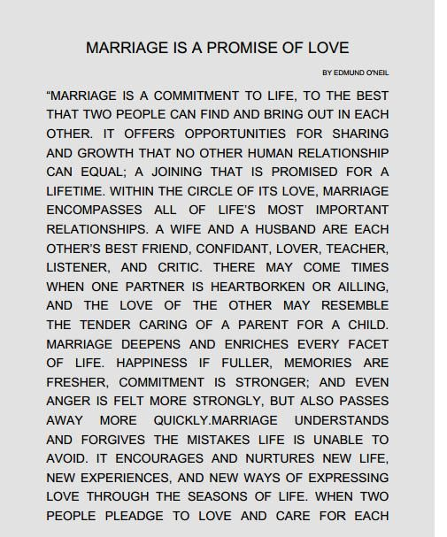 Dreams Riviera Cancun Ceremony 'Marriage is a promise of love' script