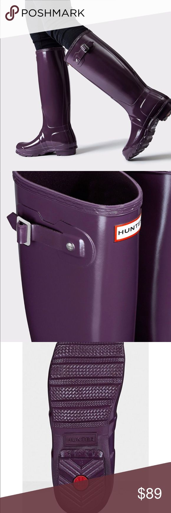 Hunters purple rain boots Worn 1 time for 1 hour - excellent condition Hunter Boots Shoes Winter & Rain Boots
