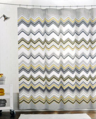 Max Studio Home Pixelated Chevron Fabric Shower Curtain In Shades Of Grey Black Yellow On White
