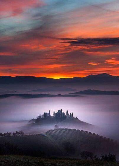 Sunrise in Tuscany, Italy.