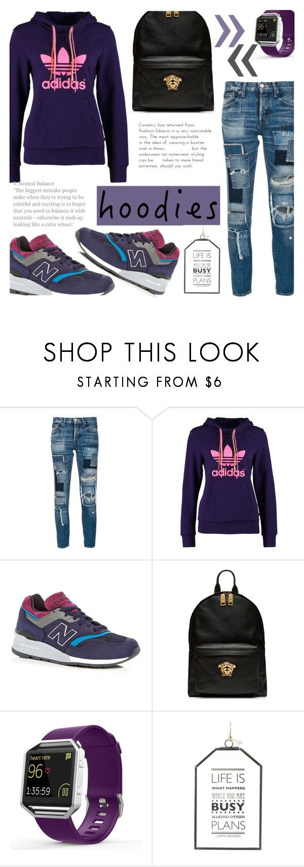 """""""In My Hood: Cozy Hoodies"""" by katyusha-kis ❤ liked on Polyvore featuring moussy, adidas Originals, New Balance, Versace, Fitbit, Parlane and Hoodies"""