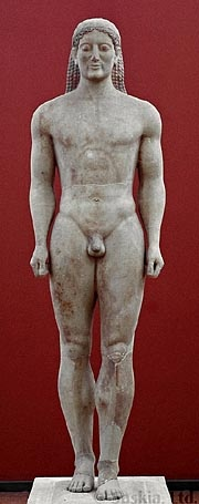 """This kouros served as a grave marker and was accompanied by the following inscription: """"Stand and pity beside the grave monument of dead Kroisos, whom, at one time, while fighting in the front ranks of battle, raging Ares destroyed""""."""
