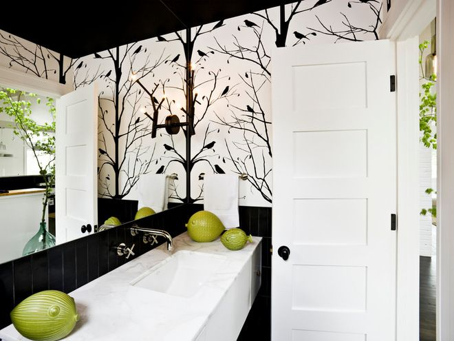 Another great black ceiling with wallpaper.....midcentury bathroom by Jessica Helgerson Interior Design