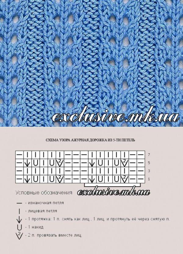 Ажурные дорожки спицами - простые ажурные схемы | Салон эксклюзивного вязания
