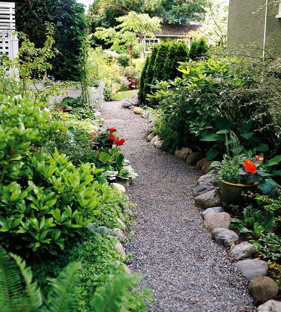 Garden path ideas gravel walkways gardens river rocks for Landscaping ideas stone path