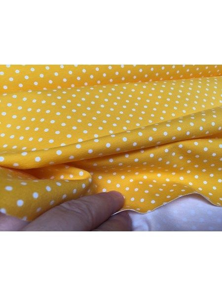 Bomuldsjersey - sol gul med små 3 mm hvide prikker på