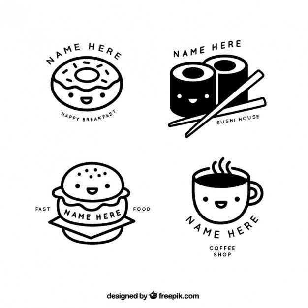Agradáveis lineares restaurante e café logos loja Vetor grátis