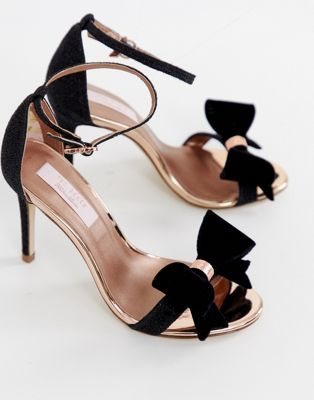 4093f2f0662 Ted Baker black sparkling bow detail barely there heeled sandals in ...