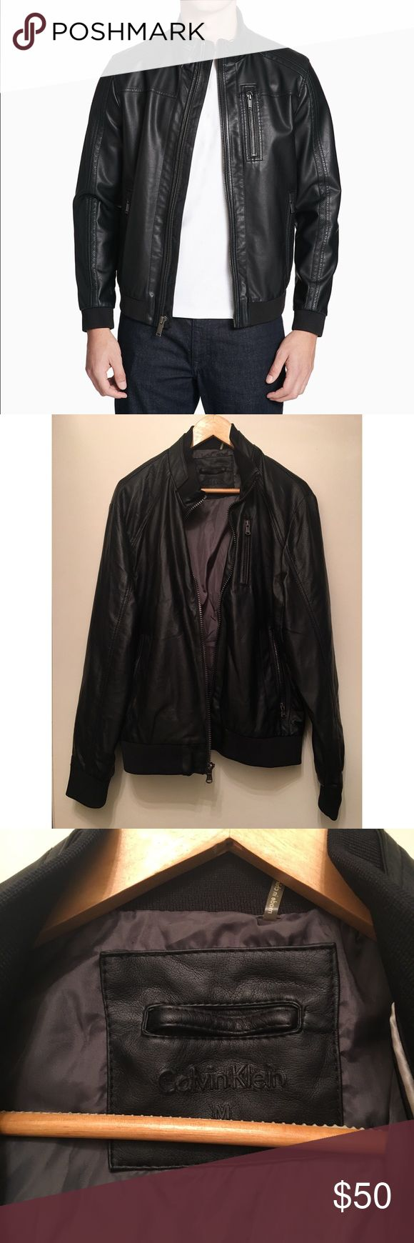 Calvin Klein Men's Black Leather Moto Jacket My boyfriend's leather jacket that he only wore once. It's in great condition. Size M. Feel free to make an offer! Calvin Klein Jackets & Coats Bomber & Varsity