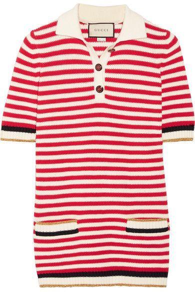 GUCCI Striped Stretch Cotton-Blend Top. #gucci #cloth #knitwear