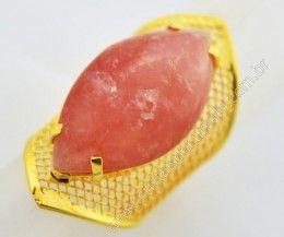 Anel Tela Pedra Quartzo Rosa Navete Armação de Luxo Elegante Ajustavel Dourado