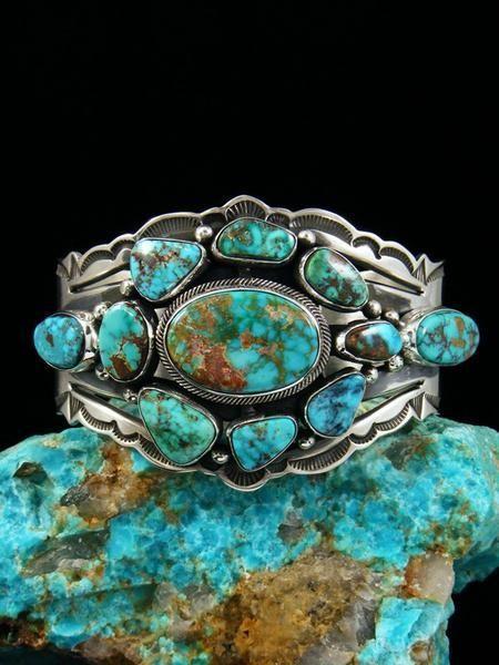 Native American Sterling Silver Kingman Turquoise Cuff Bracelet