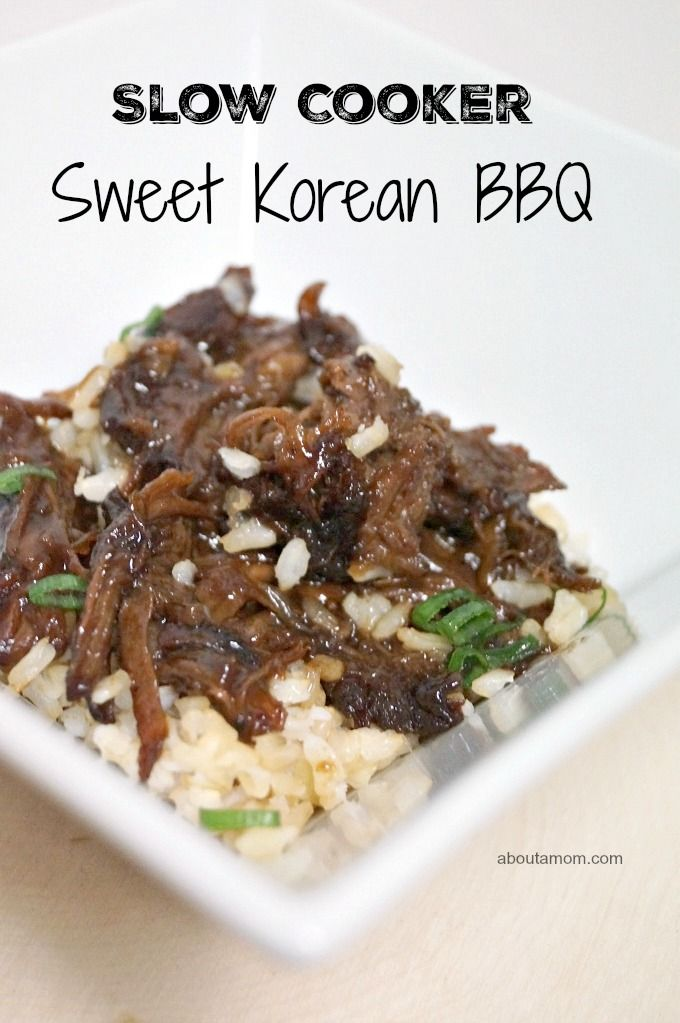 Slow Cooker Sweet Korean BBQ is such a great weeknight easy recipe. It's full of flavor and has the wonderful sweetness you would expect from Korean BBQ. #CampbellSauces #AD