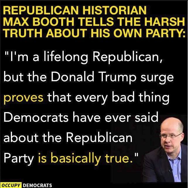 The party that believes in the stick for the poor, the low interest,tax write off , government subsidized carrot for the rich, freedom and forgivness for white Christians, accountability and punishment for everyone else. The two sets of rules party.