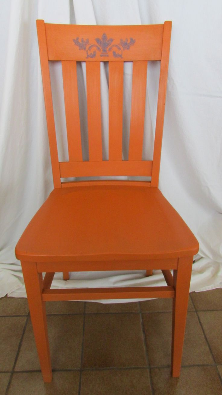 Country crafted wooden chair and stool ebth - Barcelona Orange With Stencil Wooden Chairsrocking Chairfurniture Ideasstencilingbarcelona