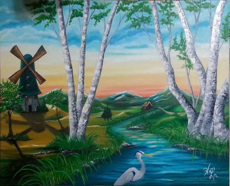 Le moulin, Huile sur toile www.helenelatour.com
