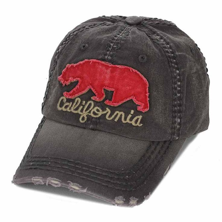 California Bear Baseball Cap Distressed vintage design 100% Cotton
