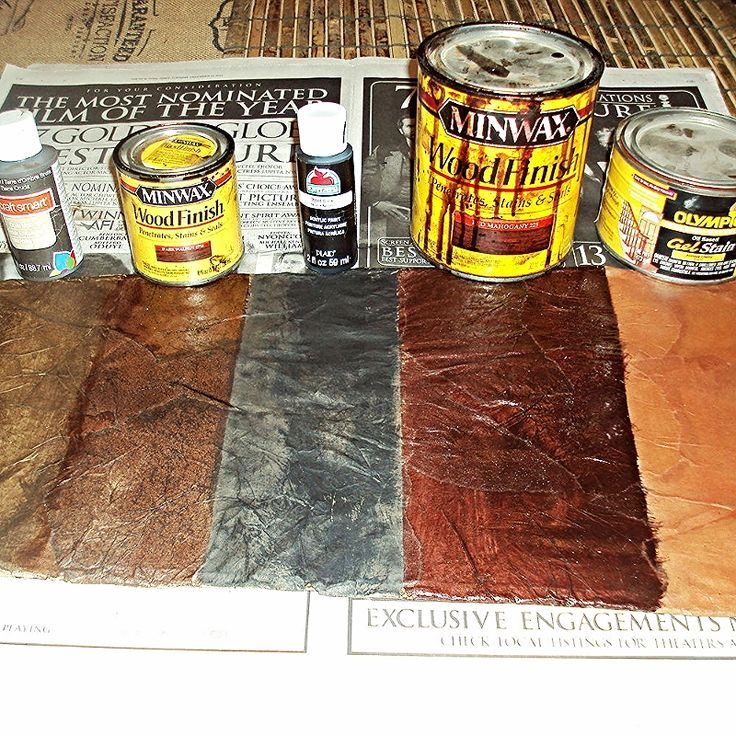 how to create a faux leather finish using brown paper, painted furniture, repurposing upcycling, Once your project is dry you can apply paint or stain depending on the look you are trying to achieve Here are some examples from L R Raw Umber craft paint Dark Walnut stain black paint Red Mahogany Stain Antique Cherry stain