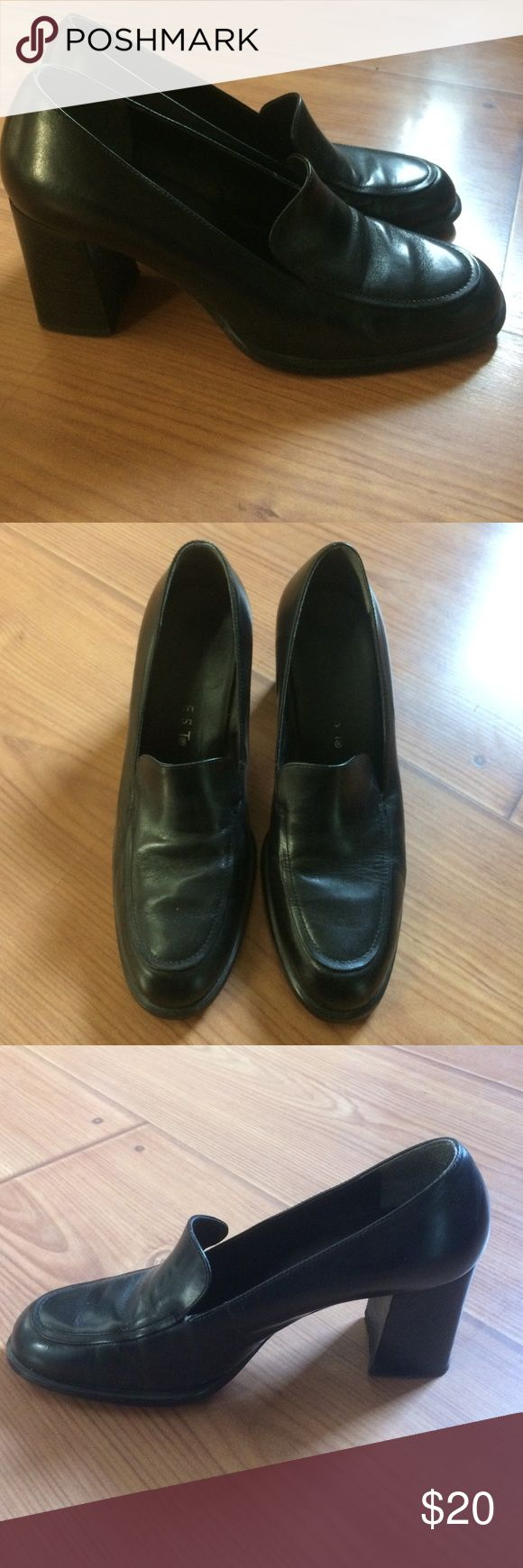 "Nine West black leather loafer heels Gently worn, very nice black leather, stylish, sleek, narrow, with a 3"" heal, excellent condition Nine West Shoes Heels"