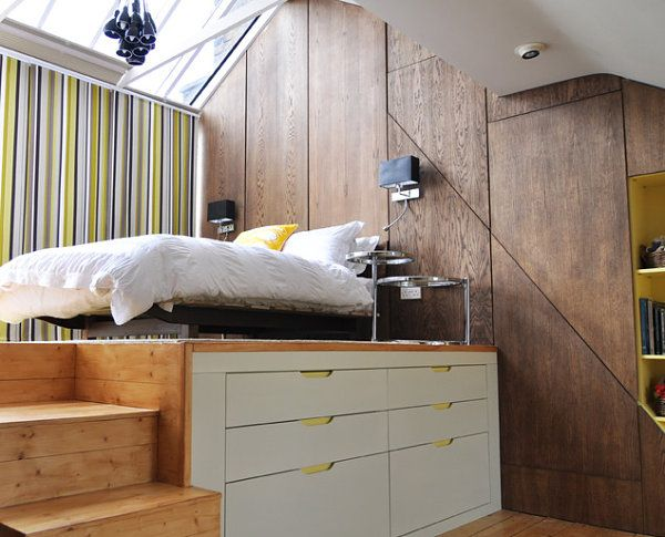 Adult Loft Beds for the Modern Home. This could solve a LOT of storage issues in our little Usonian home.
