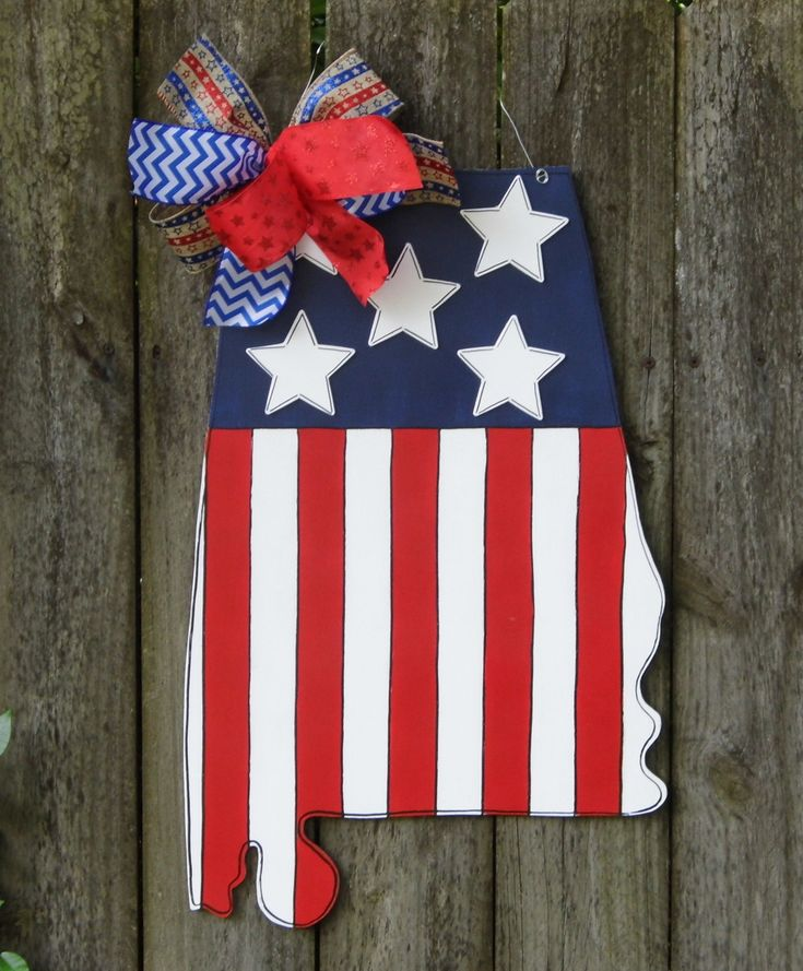 State of Alabama Door Hanger, USA Door Hanger, Red White Blue, Alabama State by HolidaysAreSpecial on Etsy