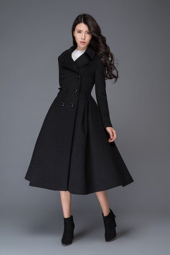8e11162ea long black coat, Wool coat, winter coat, womens coats, womens ...