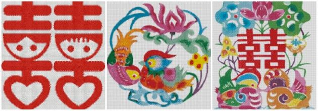 китайская свадебная вышивка бесплатные схемы