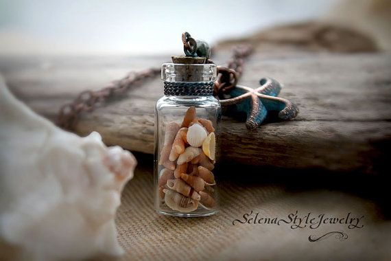 Bottle pendant Glass copper From the deep. by SelenaStyleJewelry