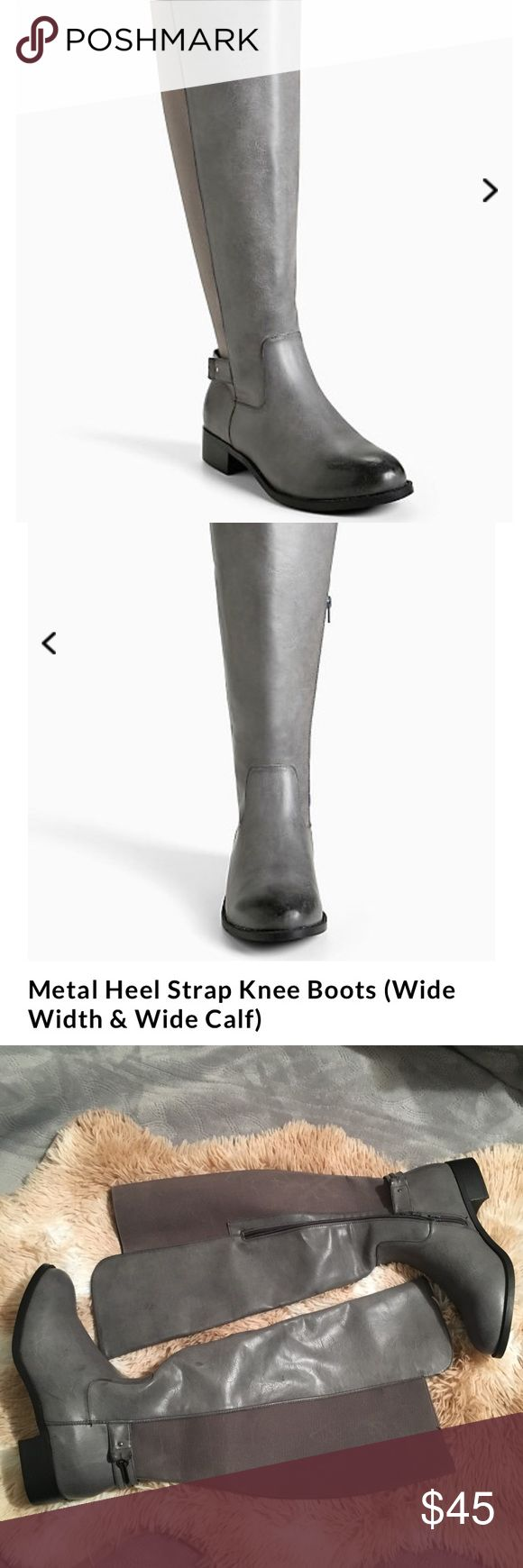 Torrid metal strap knee boots nwt size 9W Torrid knee boots new with tags size 9W. No box. Last pic shoes manufacturer flaw on the stretch part of the boots. Purchased like this maybe part of the design as it is on the material part of these boots torrid Shoes Over the Knee Boots