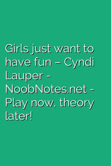 "Music notes for Cyndi Lauper's breakthrough hit ""Girls just want to have fun"" – very fun to play! Watch out for low C's. Enjoy 🙂   G     B         B     G   A     B  –  B       B I come home in the morning light B     ^D-B    …"