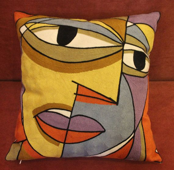 Picasso Painting Inspired Wool Thread Embroidered Cushion Pillow Covers. Throw Pillow 5 Designs - Cotton Linen Fabric Wool Embroidery.