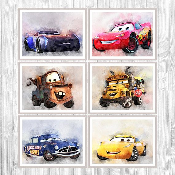 Disney Cars 3 Poster Set Of 6 Cars Watercolor Print Cars Wall Decor Kids Gift Child Room Art Room Decor Disney P Kids Room Art Print Sets Disney Posters