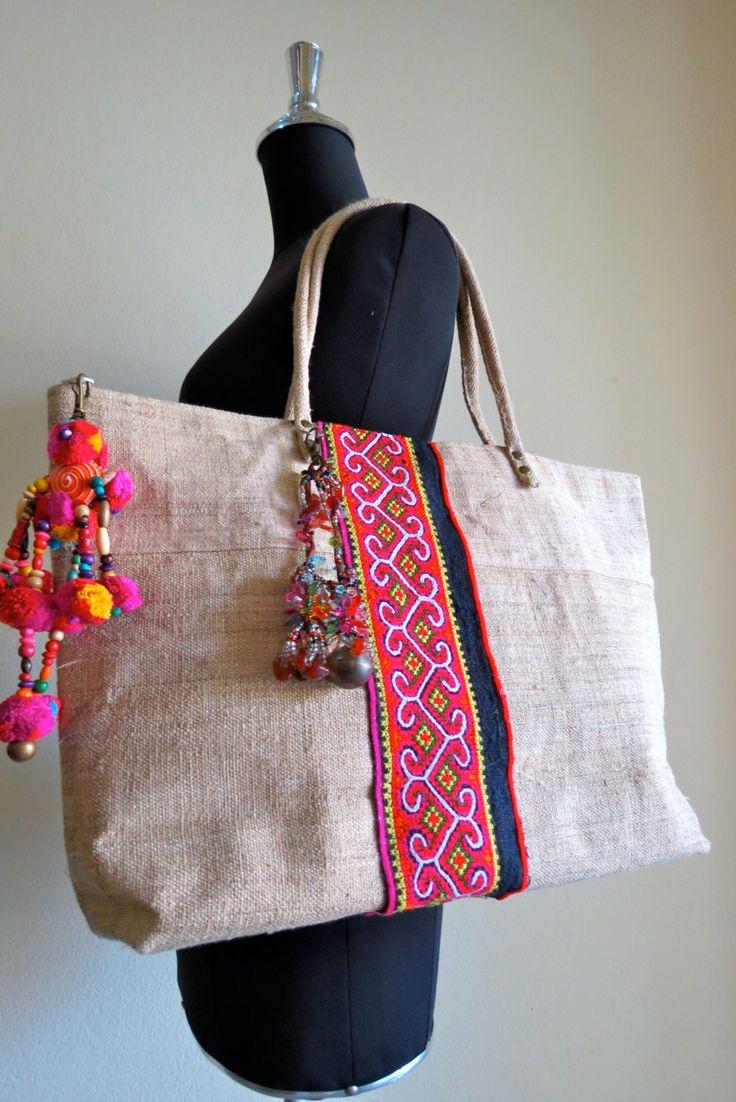 Hmong Ethnic handwoven Hemp handbag handmade by shopthailand, $59.99