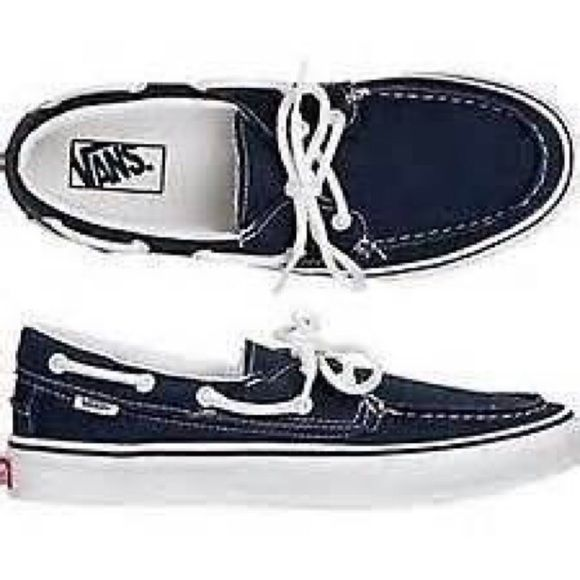 Van's Boat Shoes Like new. Fits size 5 women's but is men's youth size 2 I wear a six seven an they fit very snug which is why I'm getting rid of them, I've only wore them around the house a couple times to break them in but gave up and bought new ones. Color is navy blue Vans Shoes