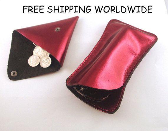 FREE SHIPPING Metallic maroon sunglasses case, leather coin purse, leather sunglass case, leather sunnies case, maroon pouch, coin pouch