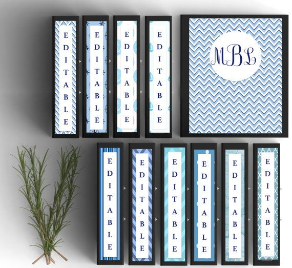 Set of 10-Monogram Binder Covers- Nautical Inspired- Personalized Binder Inserts and Spines (8.5x11in)- Printable Binder Covers- Editable