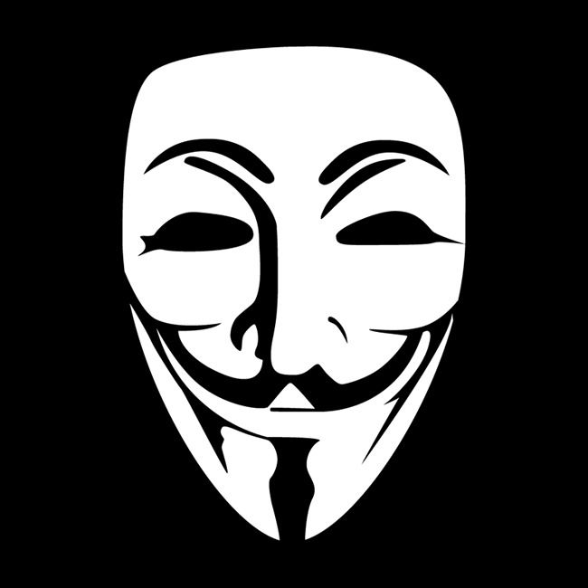 ANONYMOUS - V FOR VENDETTA / ANTI BULLY DECAL CAR TRUCK FACE CUSTOM SIZES COLOR