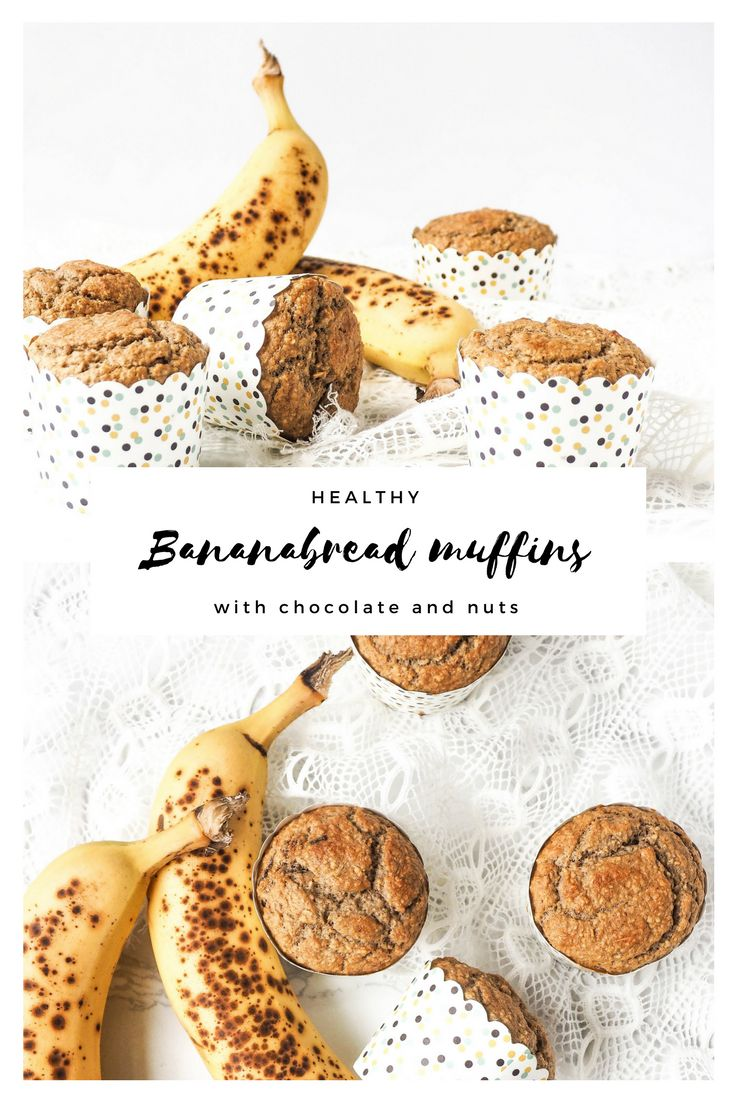 Healthy nut and chocolate bananabread muffins