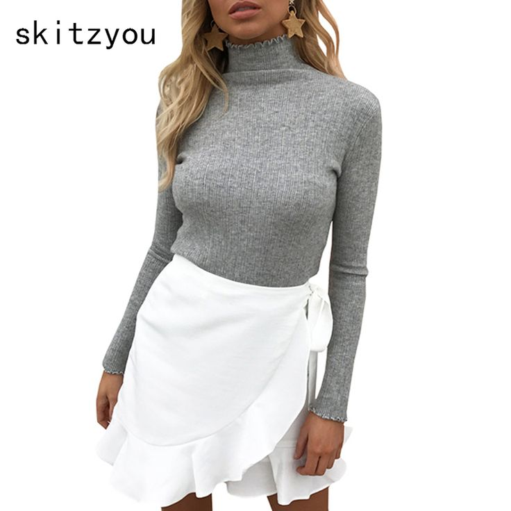 skitzyou Sweater Women Knitted Long Sleeve Turtleneck Bottoming White Basic Pullovers Slim Fit Elastic Autumn Winter Knitwear