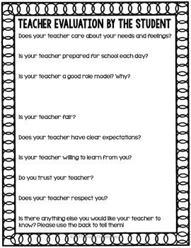 Teacher Evaluation - perfect for reflection at the end of the year. FREE!