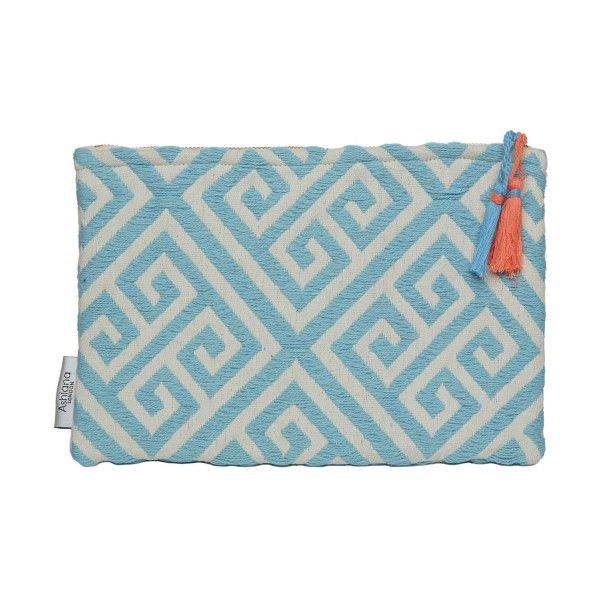 Miami Aqua White Zip Clutch ($33) ❤ liked on Polyvore featuring bags, handbags, clutches, white handbags, mini pouch, zipper purse, aztec purse and zip pouch