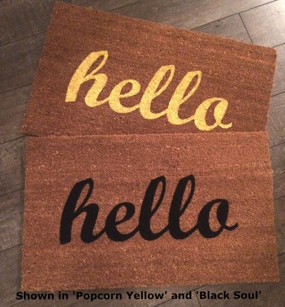 Hello welcome mat. Hand painted customizable by NickelDesignsShop