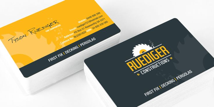 Ruediger Construction business card design and print managed by Icon Graphic Design Adelaide.