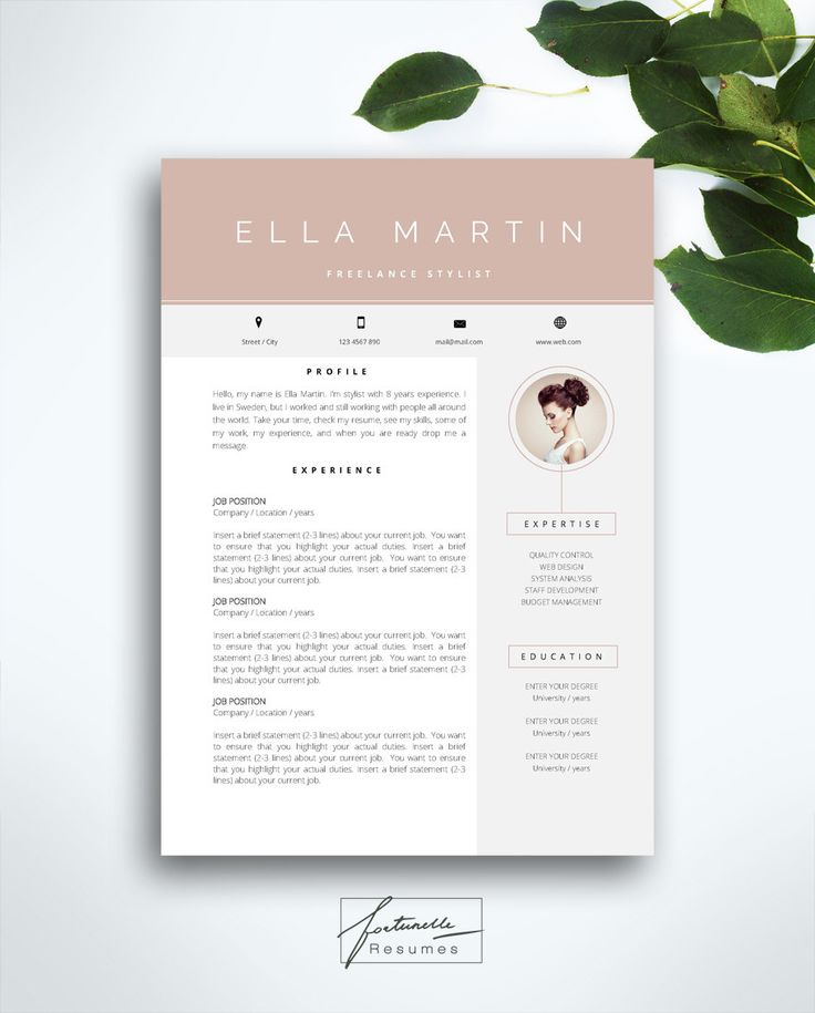 resume template 3 page cv template cover letter instant download for ms word ella